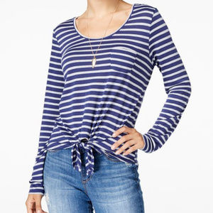 Rebellious One Juniors' Striped Tie Front Top